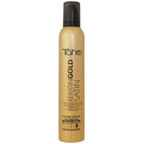 FIXING MOUSSE SATIN KERATIN GOLD for dry or damaged hair (300 ml) fix.5 TAHE