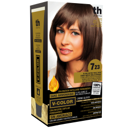 Hair dye V-color no.7.23 (medium golden pearl gold)- home kit+shampoo and mask free of charge