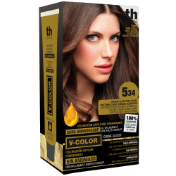 Hair dye V-color no. 5.34 (light gold copper brown)- home kit+shampoo and mask free of charge