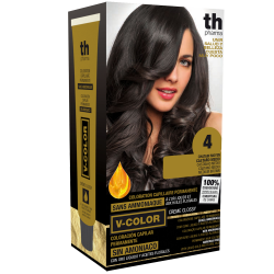 Hair dye V-color no. 4 (medium brown)- home kit+shampoo and mask free of charge