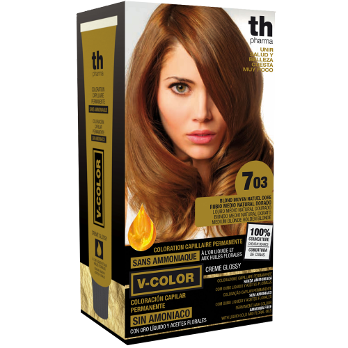 Hair dye V-color no.7.03 (medium golden natural blonde)- home kit+shampoo and mask free of charge TH Pharma