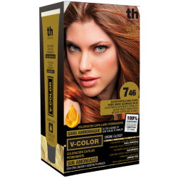 Hair dye V-color no.7.46 (medium copper red blonde)- home kit+shampoo and mask free of charge TH Pharma