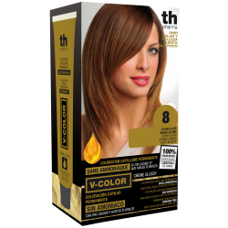 Hair dye V-color no.8 (light blond)- home kit+shampoo and mask free of charge