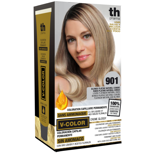 Hair dye V-color no.901 (super platinum ash)- home kit+shampoo and mask free of charge TH Pharma