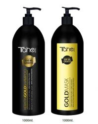 Kertine GOLD mask and shampoo for dried and damaged hair (1000+1000 ml)+ oil free of charge Tahe